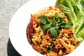 picture of fermentation  - Yam Naem Khao Thot Recipe Spicy Salad of Curried Rice Croquettes Fermented Pork Ginger and Peanuts - JPG