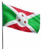 stock photo of burundi  - Burundi flag waving image isolated on white - JPG