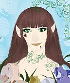 Beautiful female elf portrait vector illustration