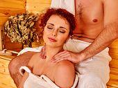 stock photo of sauna woman  - Couple man and woman    relaxing at sauna - JPG