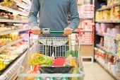 picture of supermarket  - Closeup detail of a man shopping in a supermarket - JPG