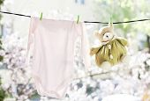 stock photo of clotheslines  - Baby clothes hanging on the clothesline - JPG