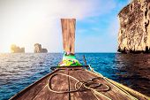 image of koh phi-phi  - Traditional wooden boat in a tropical bay on Koh Phi Phi Island - JPG