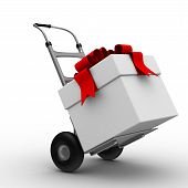 Hand Truck With Box On White Background. Isolated 3D Image