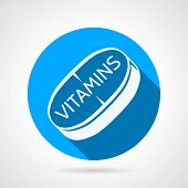 stock photo of single  - Single flat round blue vector icon with white contour tablet of vitamins on white background - JPG
