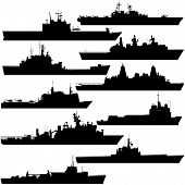 stock photo of amphibious  - Contour image of amphibious ships - JPG