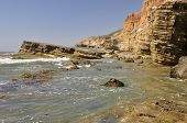 pic of shoreline  - A view of beautiful sculpted bluffs and cliffs along the shoreline of Point Loma in San Diego - JPG