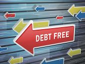 stock photo of debt free  - moving red arrow of debt free words on abstract high - JPG