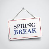 picture of spring break  - spring break hanging sign isolated on white wall - JPG