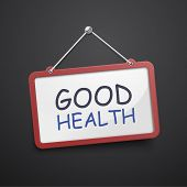 foto of take responsibility  - good health hanging sign isolated on black wall - JPG