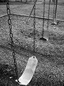 Empty School Swing Set In Black And White