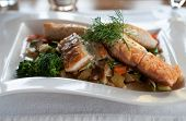 stock photo of loach  - Salmon fillet dish with fresh vegetables and potatoes - JPG