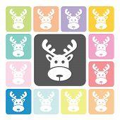 stock photo of roebuck  - Deer Icon color set vector illustration  - JPG