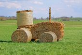 picture of hay bale  - funny tractor made of dried hay bales - JPG