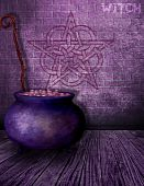 stock photo of pentacle  - An alley way where a witches cauldron sits with graffiti on the wall behind it.