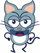 image of cat-tail  - Cute gray cat in minimalistic style with pointy ears - JPG