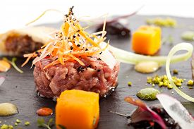 stock photo of tartar  - Beef Tartare with Various Dip and Vegetables - JPG