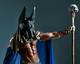 image of pharaohs  - The man in the image of the ancient Egyptian Pharaoh  with a  mask of  Anubis on his face on blue background - JPG
