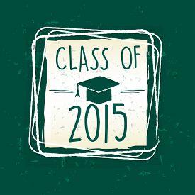 foto of tassels  - class of 2015 text with graduate cap with tassel  - JPG
