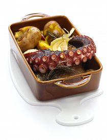 stock photo of devilfish  - grilled octopus with potatoes - JPG