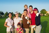 Golf Course Group Of Friends People With Children