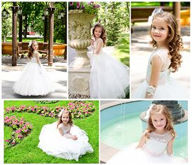 picture of little girls photo-models  - Collection of photos adorable smiling little girl in princess dress outdoor - JPG