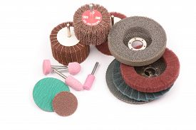 picture of abrasion  - Abrasive wheels on a white background in studio - JPG