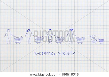 Different Types Of People All With A Shopping Cart Including A Baby In Stroller