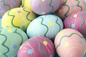 A close-up of colorful easter eggs