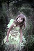 A young girl in a fairy costume walking in a forest, soft-focus and vignetting on the edges, slight
