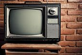 Retro Grunge Tv Against Brick Wall.