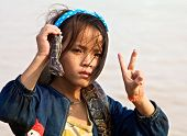 Cambodia Child with Snake