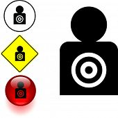 man silhouette target symbol sign and button