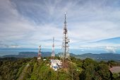 pic of langkawi  - telecommunications towers on the top of the hill in Langkawi - JPG