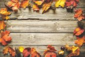 Vintage autumn border from fallen leaves and fruits on the old wooden table. Thanksgiving autumnal b poster