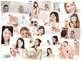 stock photo of young adult  - Collage of cute women doing their make up in the bathroom - JPG