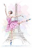Beautiful ballerina posing and dancing on eiffel tower background. Hand drawn girl. Ballet dancer. Sketch. Vector illustration. t-shirt