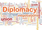 Background concept wordcloud illustration of diplomacy