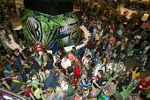 SAN DIEGO, CA - JULY 21: Comic Con attendees mob the Warner Brothers booth on the convention floor J