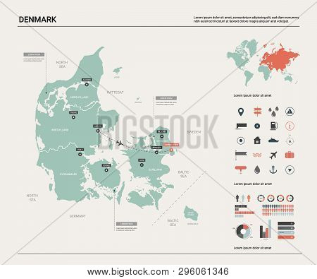 poster of Vector Map Of Denmark.  High Detailed Country Map With Division, Cities And Capital Copenhagen. Poli