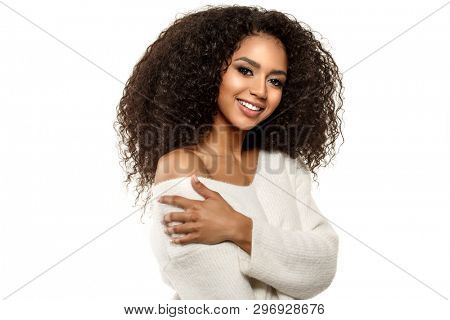 poster of Beauty black skin woman African Ethnic female face. Young african american model with long afro hair