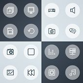 Multimedia Icons Line Style Set With Albums, Mute, Previous And Other Music Elements. Isolated  Illu poster