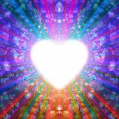 abstract design of multi-colored rays emanating from the radiant heart