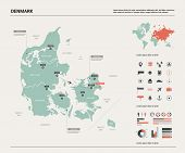 Vector Map Of Denmark.  High Detailed Country Map With Division, Cities And Capital Copenhagen. Poli poster
