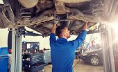 car service, repair, maintenance and people concept - auto mechanic man or smith working at workshop poster