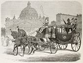 Papal carriage old illustration. Created by Bayard after Ulmann, published on Le Tour du Monde, Pari