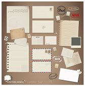Vector set: Vintage postcard, envelope, stamp, card and blank paper designs.