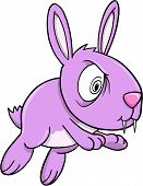 Crazy Insane Purple Bunny Rabbit Vector Illustration Art