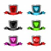 3D Icons Valentines Day Award Shields