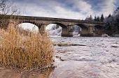 foto of tyne  - Winter morning showing Bywell bridge over the river Tyne near Stocksfield - JPG